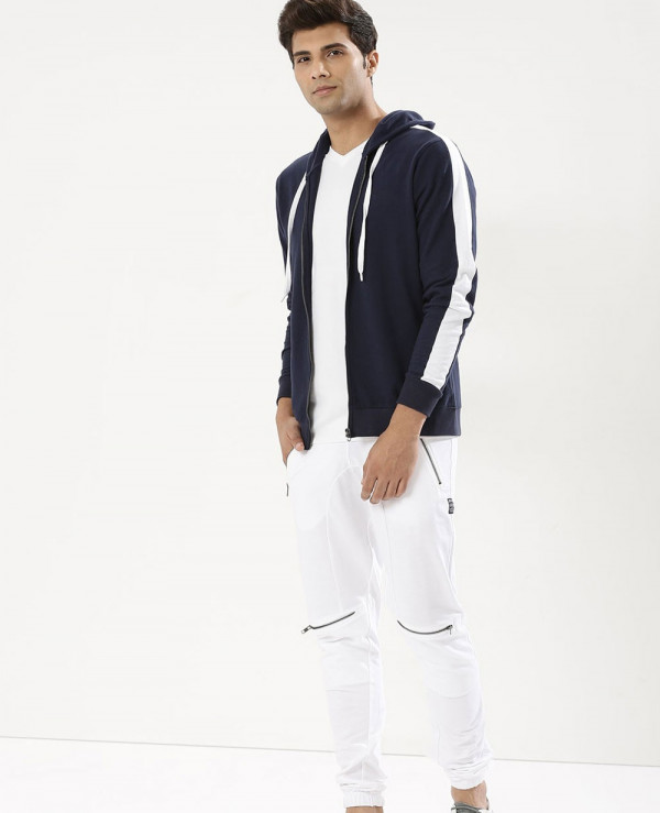 Men-Zipper-Contrast-Panel-Sleeve-Hoodie