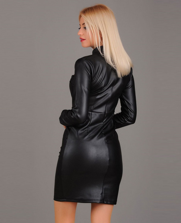 Most-Selling-Custom-Long-Sleeve-Lambskin-Leather-Dress