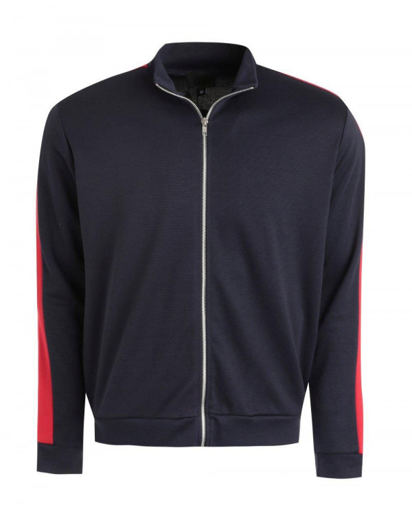 Muscle-Fit-Bomber-Jacket-With-Side-Stripe-in-Red-Varsity-Jacket