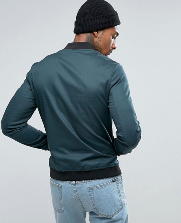 Muscle-Fit-Bomber-Jacket-With-Sleeve-Zipper-in-Bottle-Green