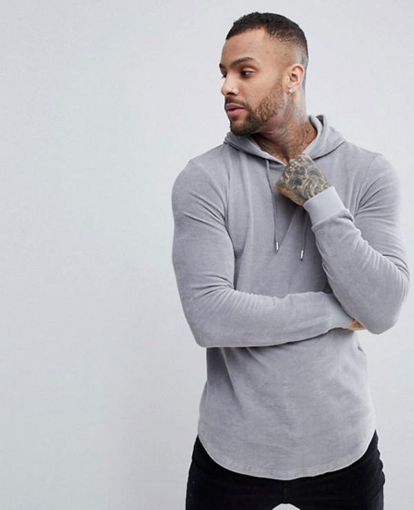 Muscle-Hoodie-In-Grey-Velour-With-Curved-Hem