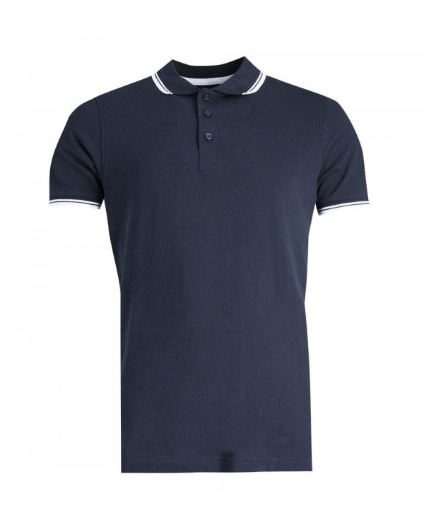 Navy-Blue-Short-Sleeve-Pique-Polo-With-Tipping-Detail