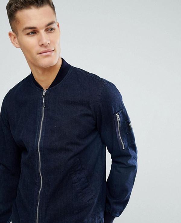 Navy-Blue-Stylish-With-Arm-Pocket-Denim-Bomber-Jacket
