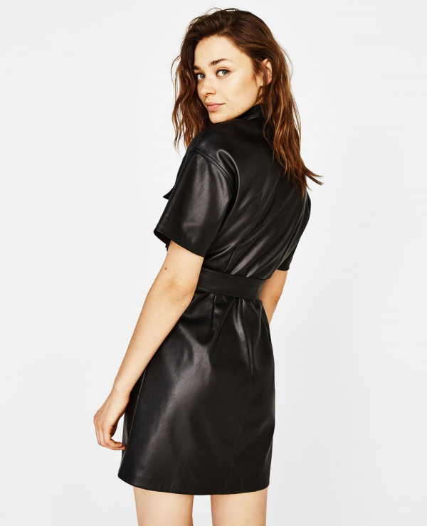 New-Black-Faux-Leather-Shirt-Dress