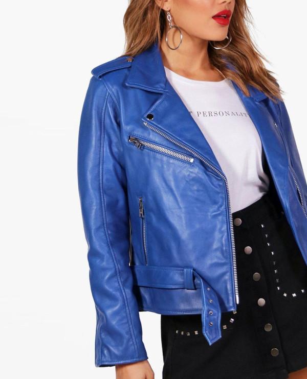 New-Custom-Blue-Women--Leather-Biker-Jacket