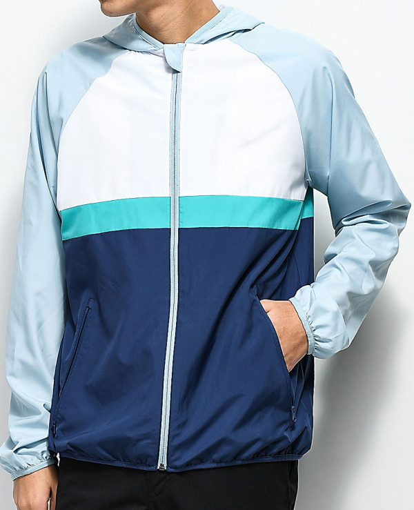 New-Custom-Made-Stylish-Grey--White-&-Blue-Windbreaker-Jacket