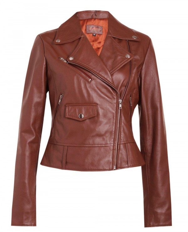 New-Fashion-Brown-Leather-Biker-Jacket