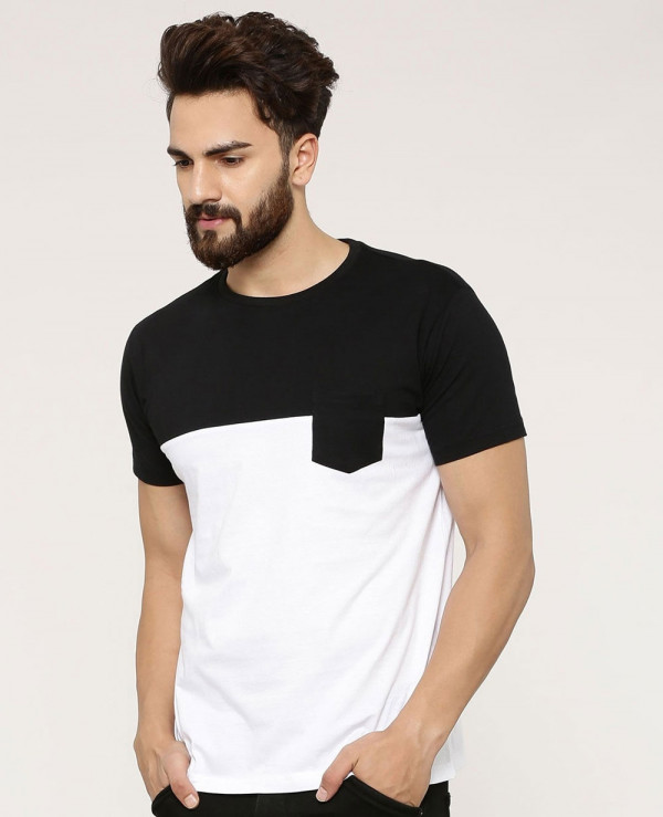 New-Look-Colour-Block-With-Patch-Pocket-T-Shirt
