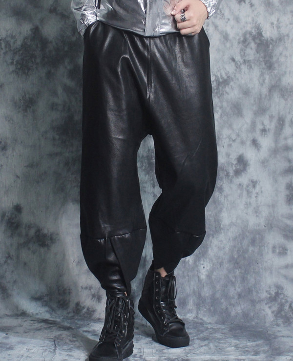 New-Men-Hot-Seeling-Custom-Faux-Leather-Trousers-Pants-Trendy-Slim