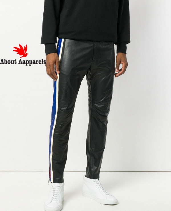 New-Men-Striped-Leather-Trousers-Mixed-Color-Motorcycle-Nightclub-Pants