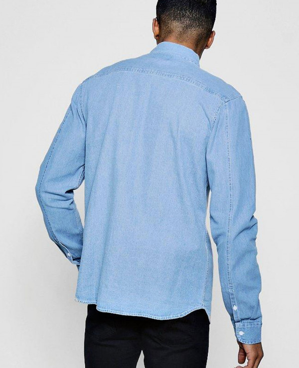 New-Men-Stylish-Hot-Made-Denim-Shirt-In-Pale-Blue