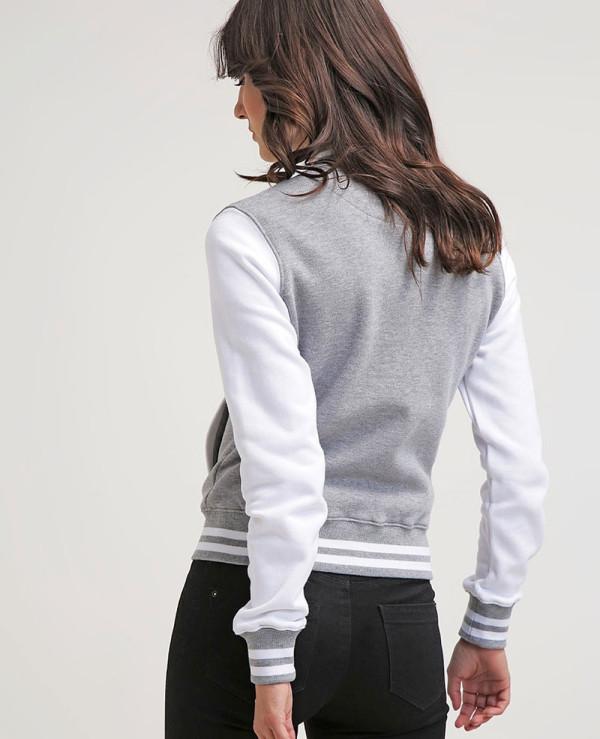 New-Stylish-Grey-Cotton-Fleece-Urban-Classics-Varsity-Jacket