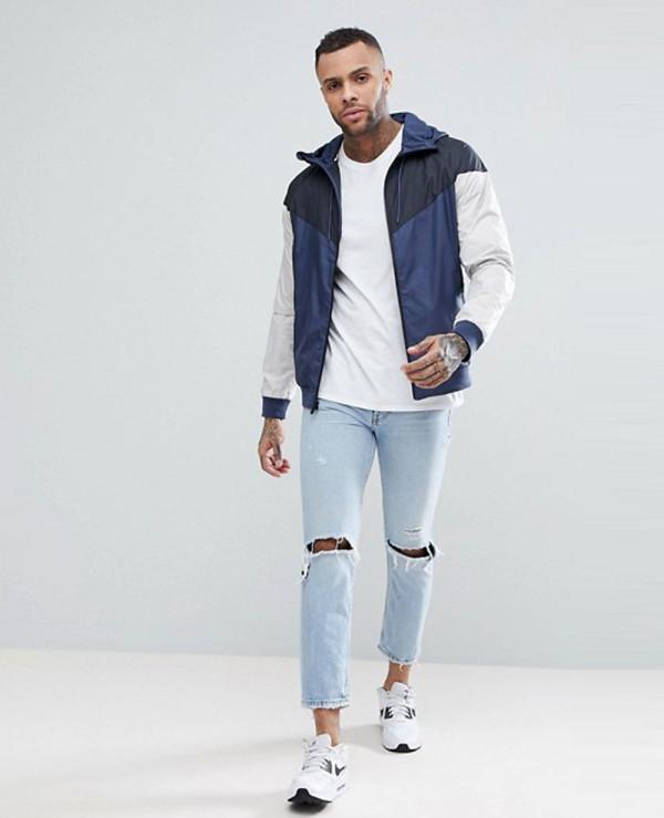 New-Stylish-With-Custom-Men-Windrunner-Jacket-In-Grey