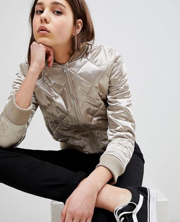 New-Stylish-Women-Quilted-Bomber-Varsity-Jacket