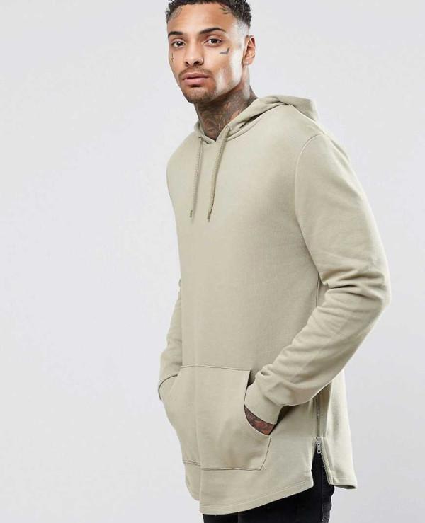 New Look About Apparels Hoodies Sweatshirts Casual Longline-Hoodie-With-Side-Zipper-Curved-Hem