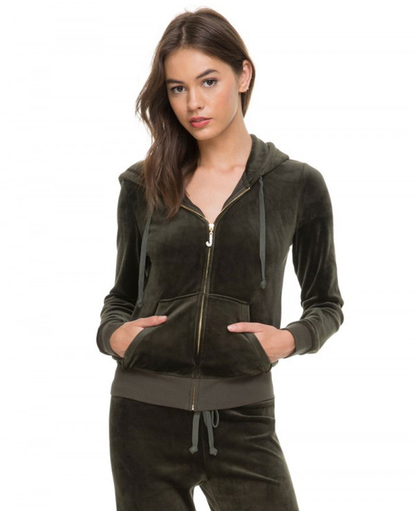 Olive-Green-Fashionable-Velour-Tracksuit