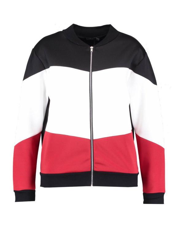 Plus-Size-Fashion-Colour-Block-Bomber-Varsity-Jacket