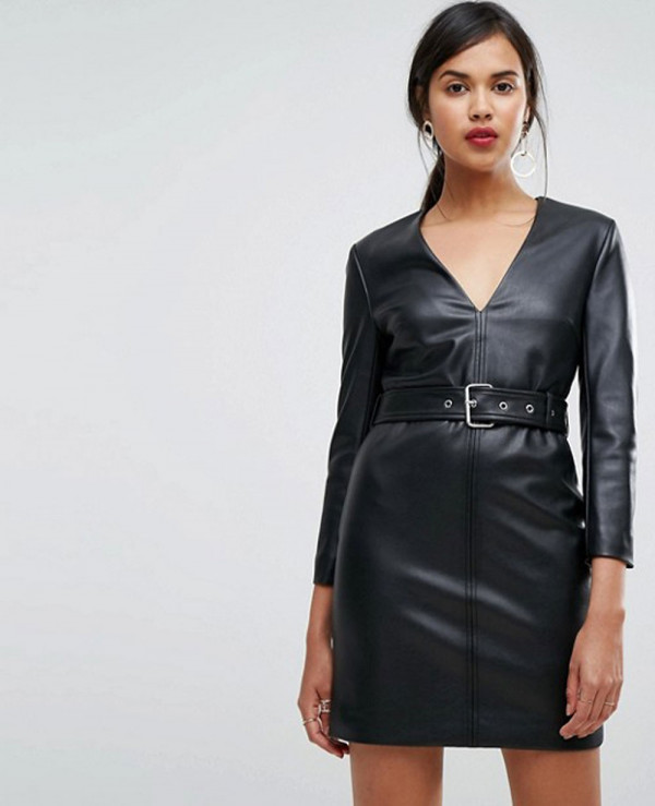 Pu-Leather-Bodycon-Dress-With-Belt-Detail