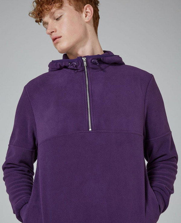 Purple-Fleece-Zip-Neck-Hoodie