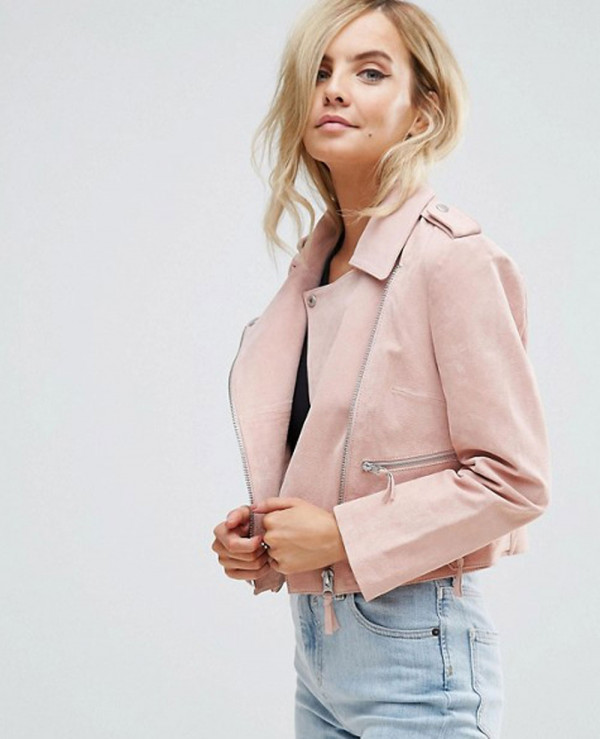Real-Pink-Suede-Biker-Moto-Leather-Jacket