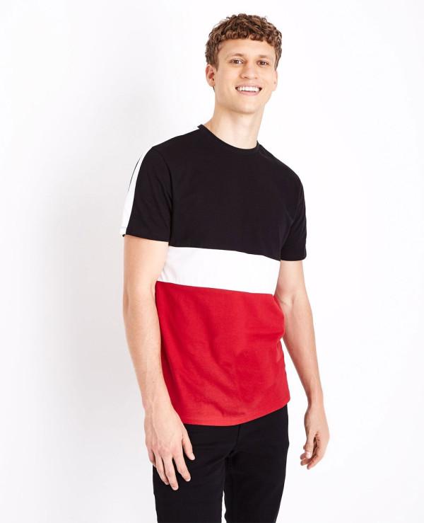 Red-Colour-Block-T-Shirt