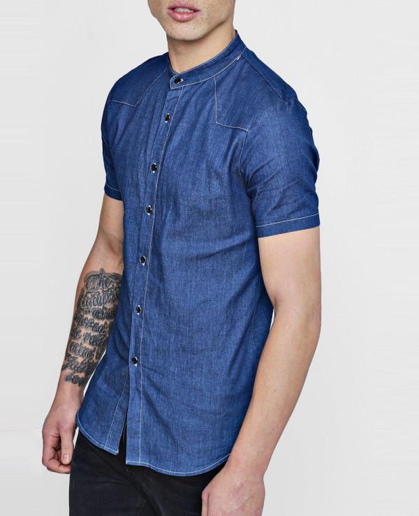 Short-Sleeve-Denim-Chambray-Western-Shirt