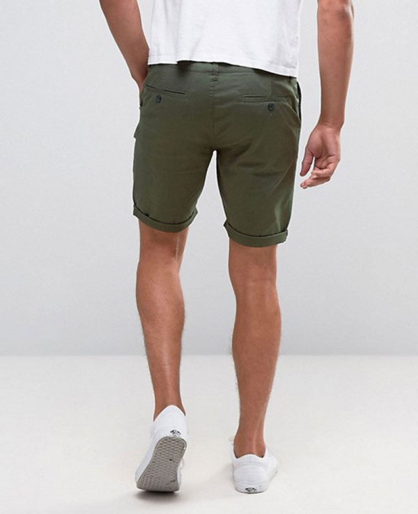 Skinny-Chino-Shorts-In-Forest-Green