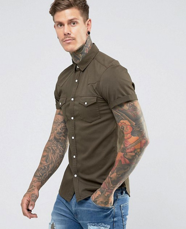 Skinny-Denim-Western-Shirt-In-Khaki