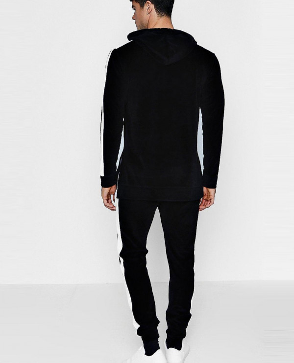 Skinny-Fit-Velour-Hooded-Tracksuit-With-Side-Panels
