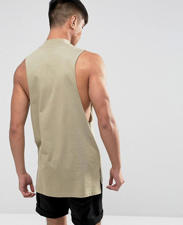 Super-Longline-Vest-With-High-Neck-In-Green