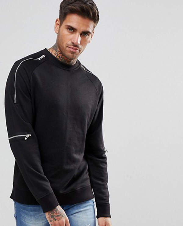 Sweatshirt-With-Zipper-Detail-In-Black