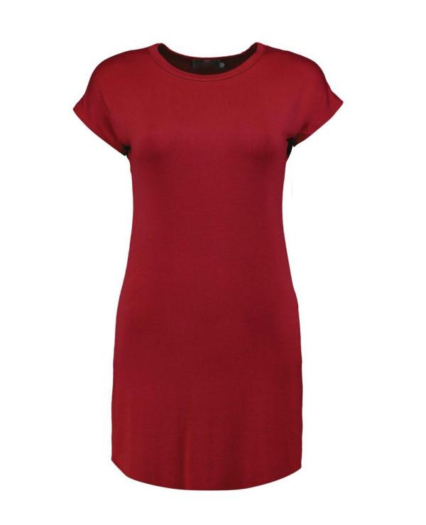 Taylor-Basic-Curved-Hem-LongLine-Size-T-Shirt-Dress