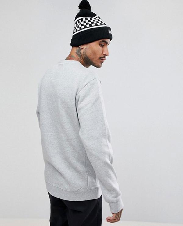 Technical-Crew-Neck-Sweatshirt-Oversized-Kangaroo-Pockets-in-Grey-Marl