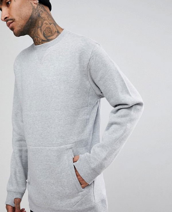 Technical Crew Neck Sweatshirt Oversized Kangaroo Pockets In Grey Marl Wholesale Manufacturer Exporters Textile Fashion Leather Clothing Goods With We Have Provide Customization Brand Your Own