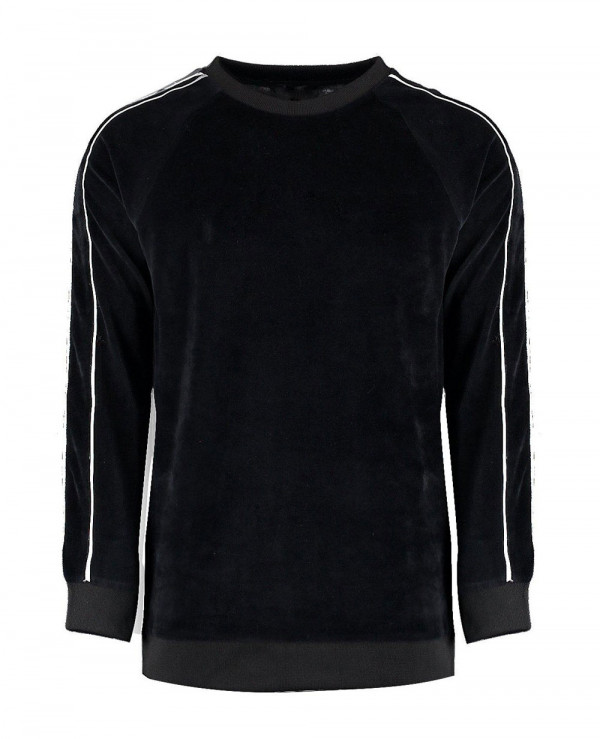 Velour-Sweater-With-Piping