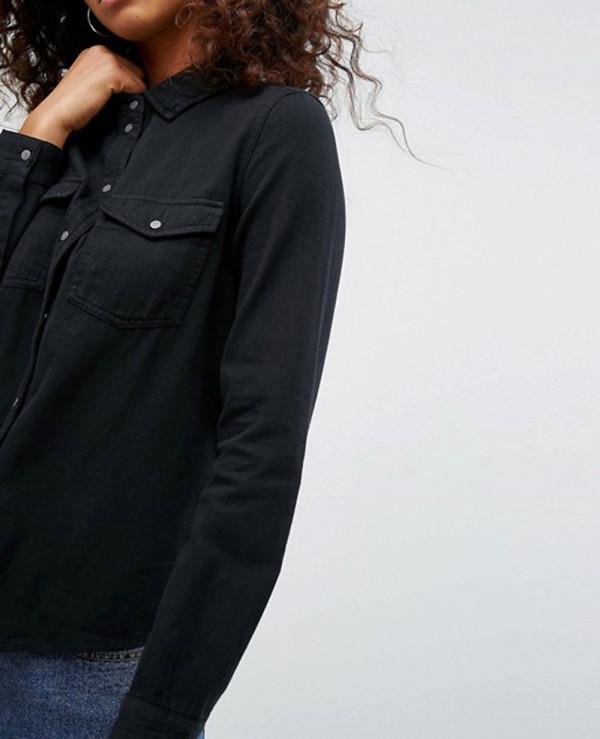 Women-Black-Denim-Shirt