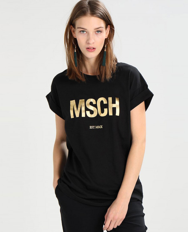 Women-Black-Printed-T-Shirt