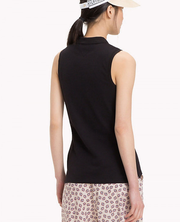 Women-Black-Sleeveless-Fitted-Polo-Tee