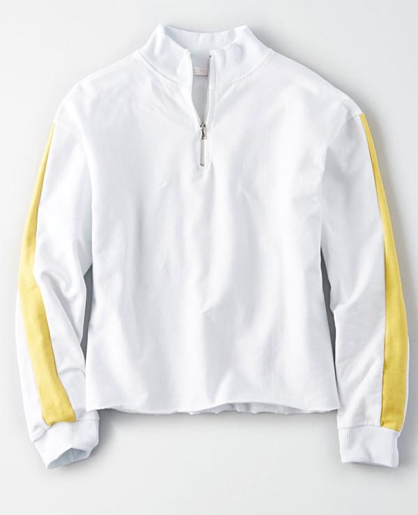 Women-Cropped-Half-Zipper-Fleece-Sweatshirt