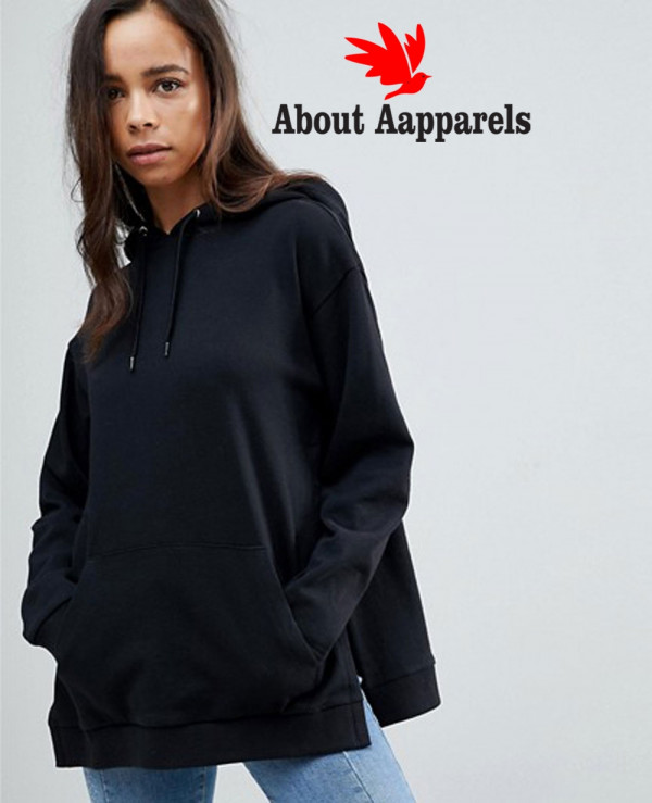 Women Pullover Black Hoodie With Side Split Detail Wholesale Manufacturer Exporters Textile Fashion Leather Clothing Goods With We Have Provide Customization Brand Your Own