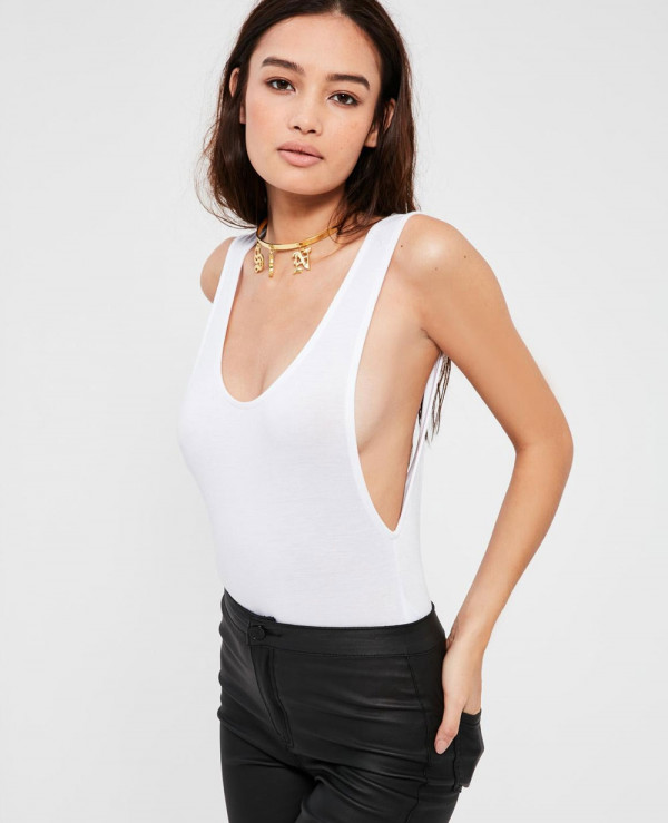 Women-White-Scoop-Back-Bodysuit