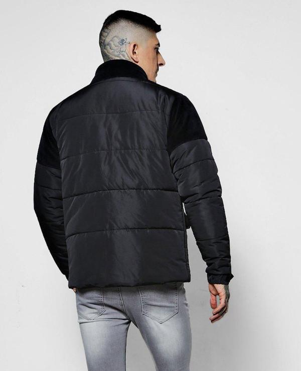 Zip-Up-Velour-Panel-Puffer-Padded-Jacket